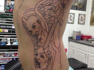 Beginning of bad ass archangel tattoo