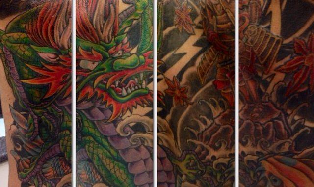 Finished dragon/koi backpiece
