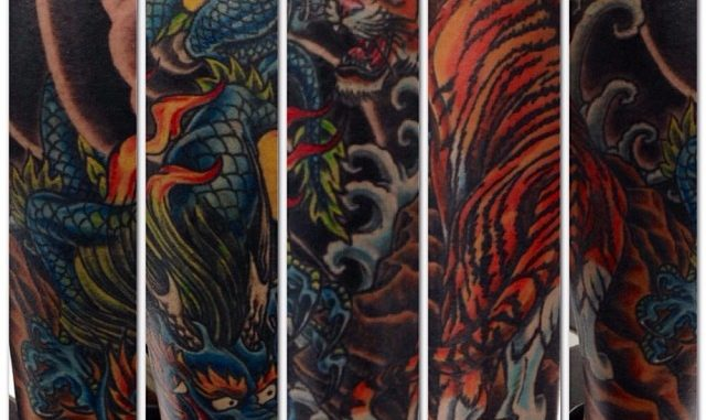 Japanese lower leg tiger & dragon final