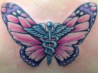 Caduceus and butterfly