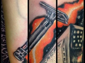 Continuing work on my wife's Heinlein sleeve. Today was the razor from Job: A Comedy of Justice