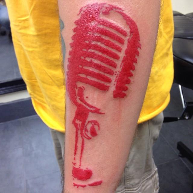 Old-school mic beginning of trash polka half-sleeve