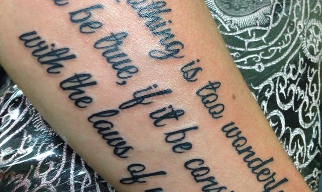 Lettering on forearm